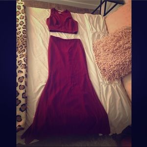 Dresses & Skirts - Two Piece Long Skirt with Low Cut Top Gown